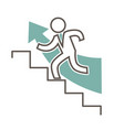 outlined character in suit that runs up stairs vector image
