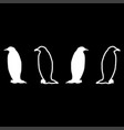 penguin icon set white color flat style simple vector image