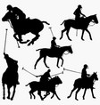 polo players silhouettes vector image