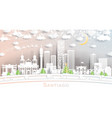 santiago chile city skyline in paper cut style vector image