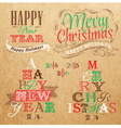 Set Merry Christmas Happy Kraft color vector image vector image