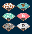 set of fans pattern with dog cat and bunny vector image
