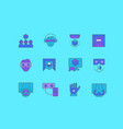 set simple line icons virtual reality vector image