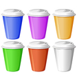 Six colorful disposable cups vector image