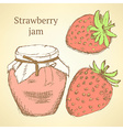 Sketch strawberries and jar in vintage style vector image vector image