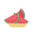 slices of watermelon on plate sweet organic fruit vector image vector image