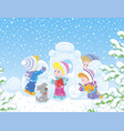 small children building a snow fortress vector image vector image