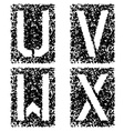 stencil angular spray font letters U V W X vector image vector image