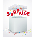 Surprise message box with confetti vector image vector image