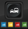 taxi icon symbol Set of five colorful stylish vector image vector image