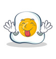 tongue out fried egg character cartoon vector image vector image