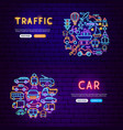 transport neon banners vector image
