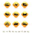 Transportation icons on yellow rhombic buttons vector image