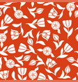tulips pattern seamless ornament on red background vector image vector image