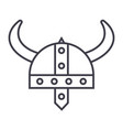 viking helmet line icon sign vector image vector image