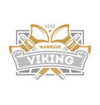 viking warrior vintage isolated label with poleaxe vector image