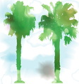 Watercolor palm trees vector image
