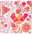 Winter time seamless texture with flowers birds vector image vector image