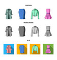 women clothing cartoonflatmonochrome icons in vector image vector image