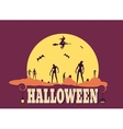 Zombie silhouettes on moonlight vector image vector image