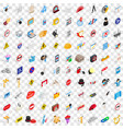 100 settings icons set isometric 3d style vector image