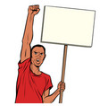 afrikan man protests with a poster isolate on vector image vector image