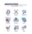 ball games - modern line design icons set vector image