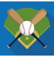Ball league and bat of baseball sport design vector image vector image