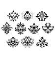 Black damask flower blossoms and patterns vector image