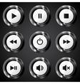 Black metallic power buttons set vector image