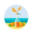 bottle with orange juice and oranges vector image