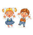 boys and girls grimace at the camera vector image vector image