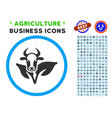 bull and plant rounded icon with set vector image vector image