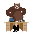 businessman scared under table of bear frightened vector image