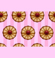 buttery cookies with red jam on striped sweet pink vector image vector image