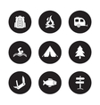 Camping and tourism black icons set vector image vector image