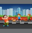 childrens walking with their pets on street vector image vector image