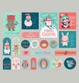 christmas cards and gift tags set with animals vector image vector image