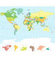 classic colors world map vector image