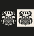 custom car vintage monochrome print vector image