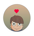 cute cartoon boy with love emotions vector image vector image