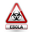 ebola virus danger sign with reflect and shadow vector image vector image