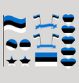 estonia flag set collection of symbols heart vector image vector image