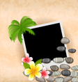 Exotic natural background with empty photo frame vector image vector image