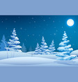 fairy night winter landscape template vector image vector image
