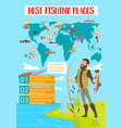 fishing place map infographics vector image vector image