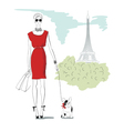 girl wiht dog in Paris vector image