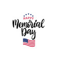 happy memorial day handwritten phrase in vector image vector image