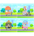 hot dog pizza street sellers vector image vector image