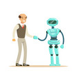 humanoid robot shaking hand with businessman vector image vector image